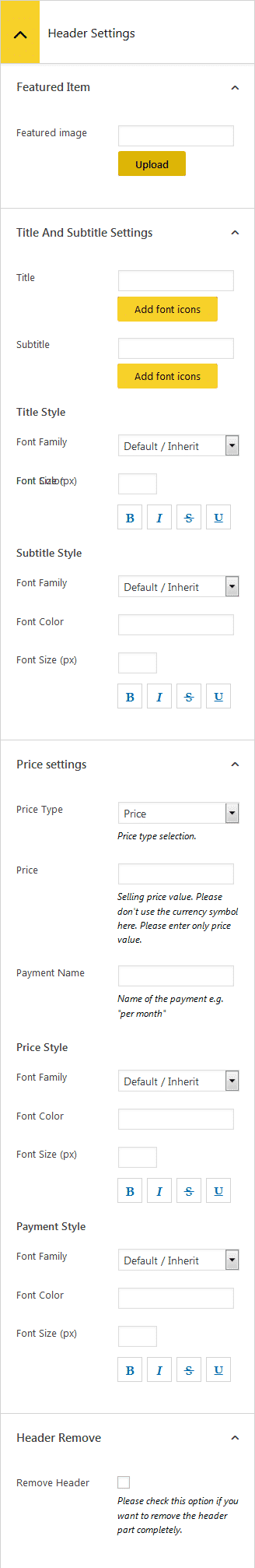 AP Pricing Tables Lite Column: Header Settings