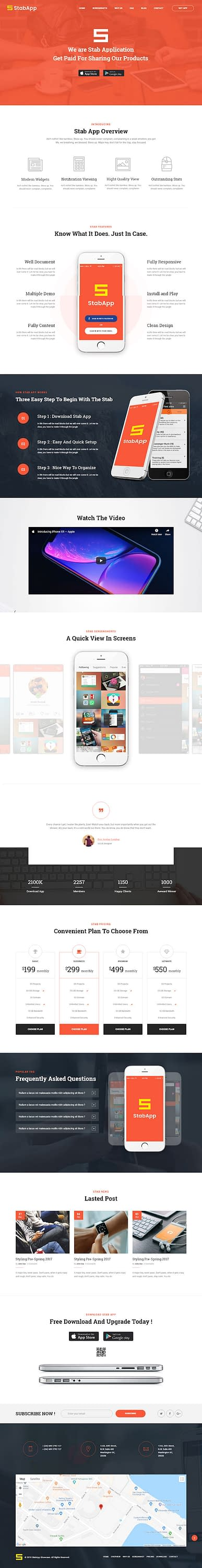 StabApp - Best Premium Mobile App WordPress Theme