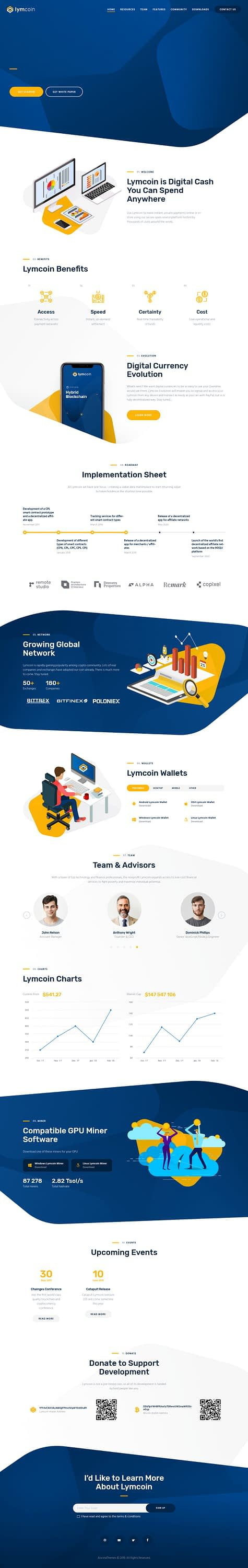 Lymcoin - Best Premium Cryptocurrency WordPress Theme
