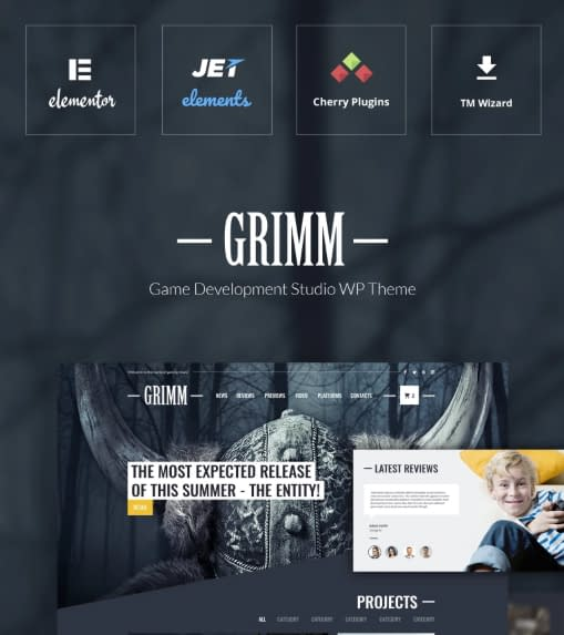 Grimm - Game DevelopmentGaming WordPress Theme