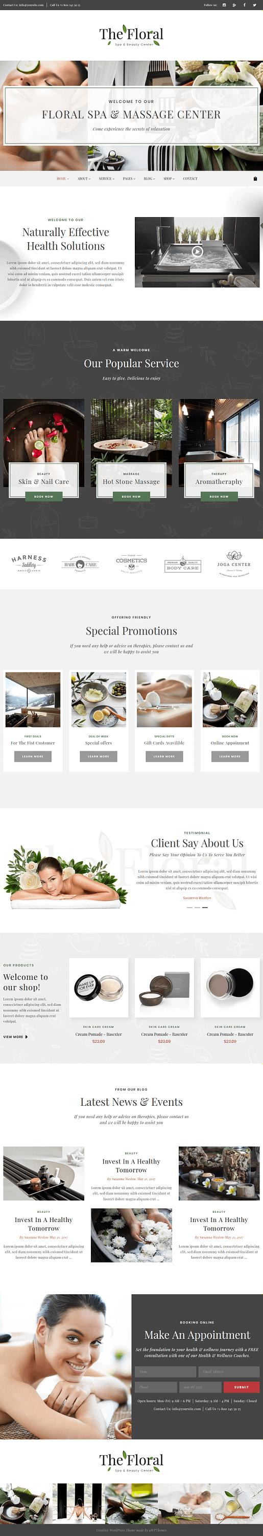 floral best premium spa beauty wordpress theme - 10+ Best Premium Spa and Beauty WordPress Themes