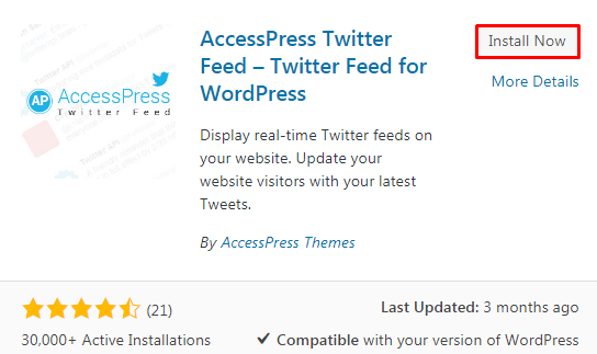 Integrate Twitter Feed in your WP website.