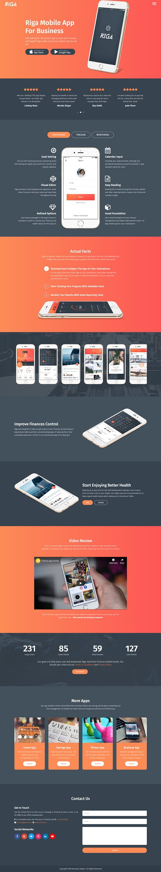 Riga - Best Premium Mobile App WordPress Theme