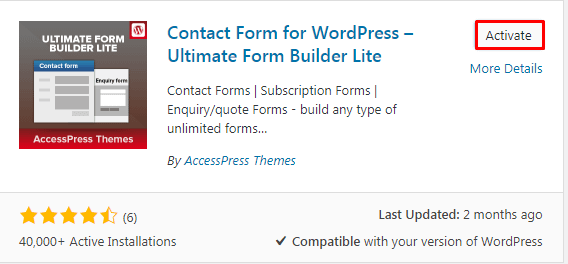 Activating Plugin to create Contact Form in WordPress