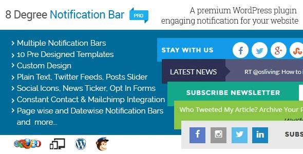 Best WordPress Notification Bar Plugin: 8Degree Notification Bar Pro