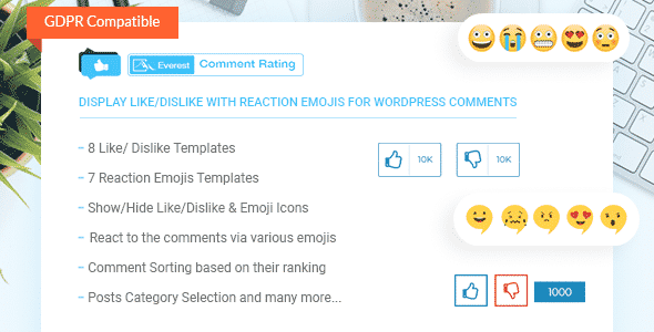 Everest Comment Rating - WordPress Plugin for Displaying Like/Dislike with Reaction Emojis for Comments