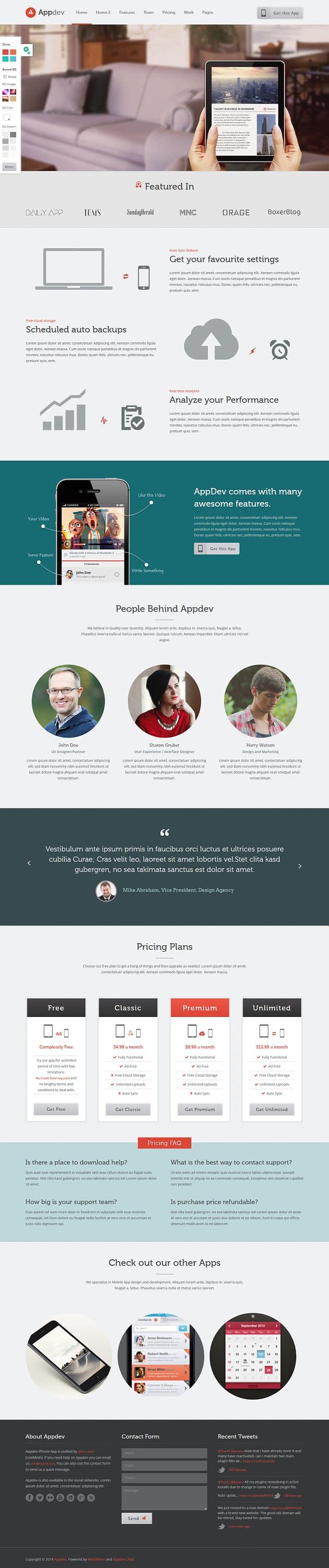 Appdev - Best Premium Mobile App WordPress Theme
