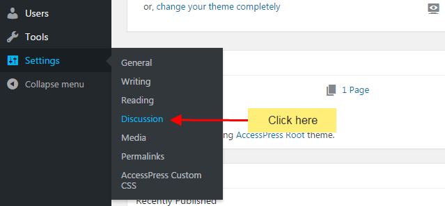 Discussion settings in WordPress website