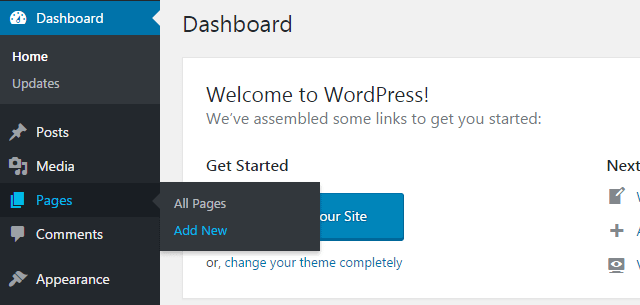 step 1 - How to create your first WordPress page?