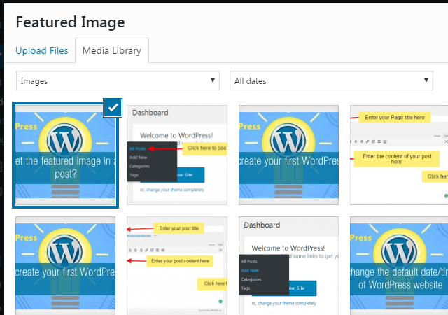 step 6 - How to set the featured image in a page or post?