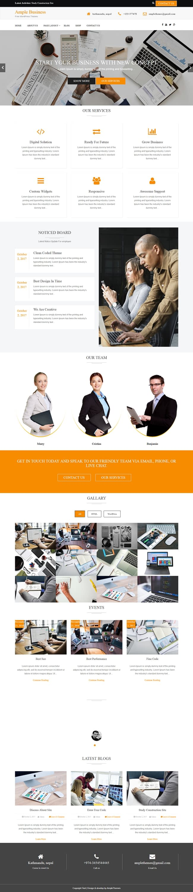 ample business best free accounting wordpress theme - 10+ Best Free Accounting WordPress Themes