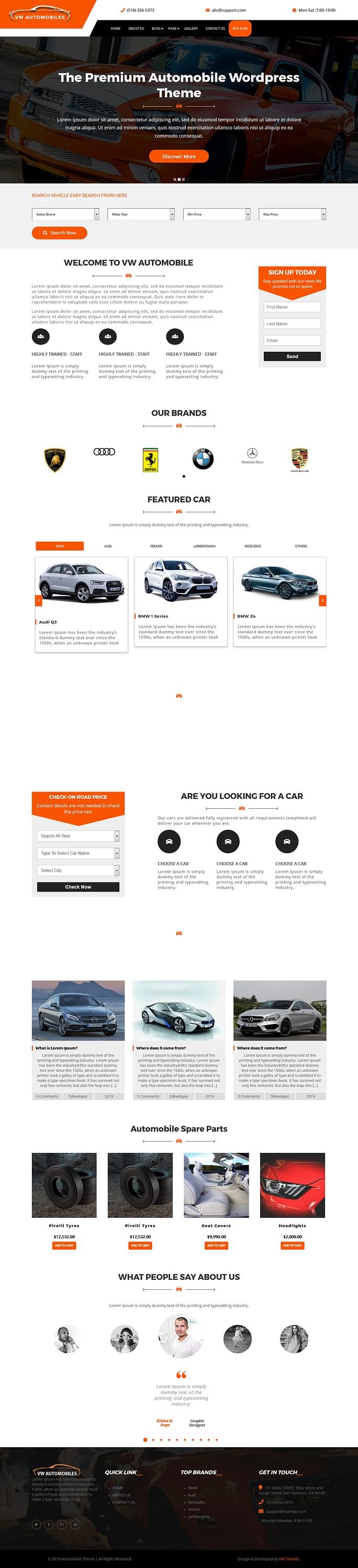 VW automobile - Best Free Automobile WordPress Theme