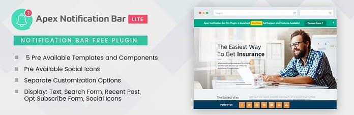 Apex Notification Bar Lite -Free WordPress Notification Bar Plugin