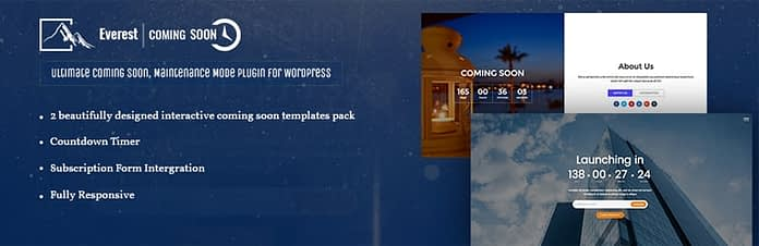 Everest Coming Soon Lite - Free WordPress Ultimate Coming Soon, Maintenance Mode Plugin