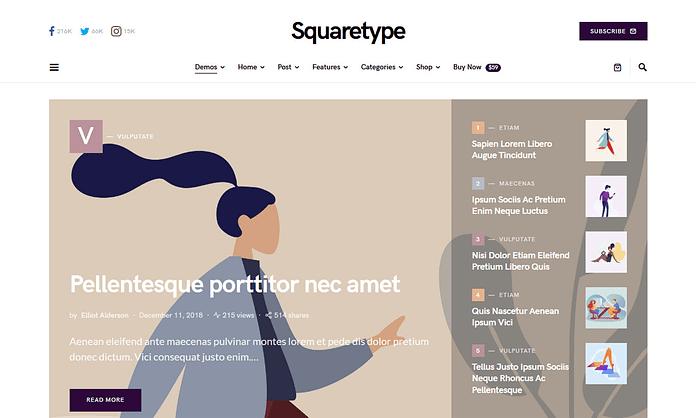 Squaretype- Modern Blog WordPress Theme