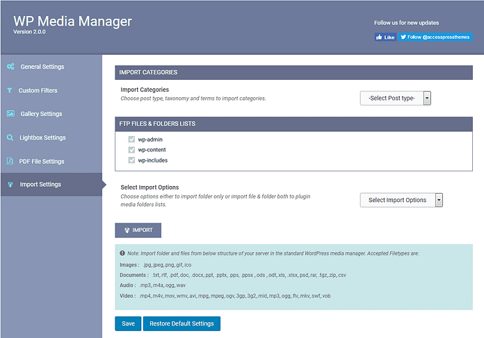 import settings 1024x717 - How to manage your WordPress media using WP Media Manager? (Step by Step Guide)