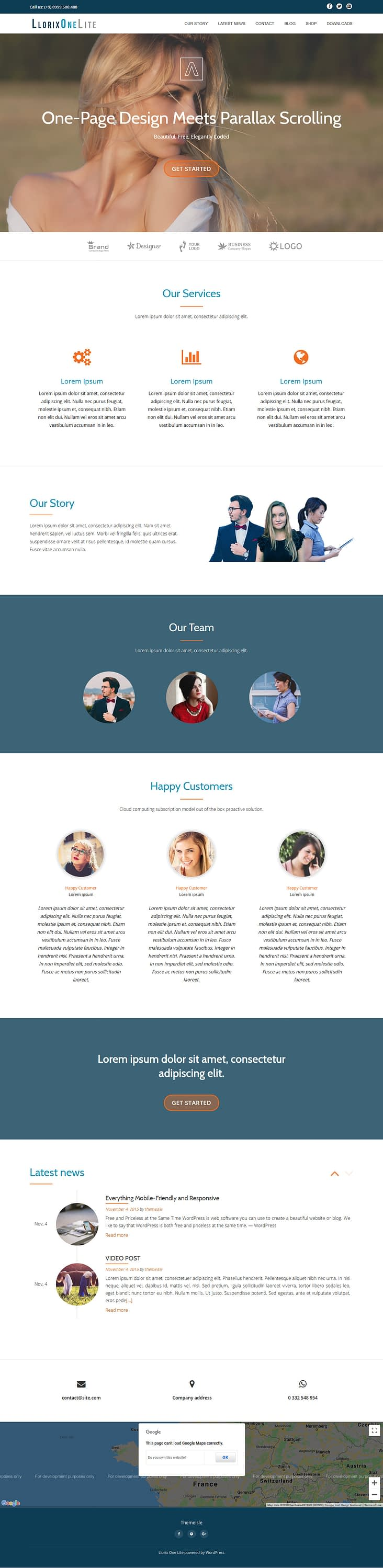 Llorix One Lite - Best Free Fullscreen WordPress The
