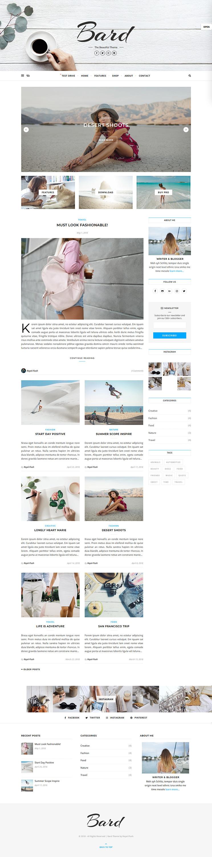 Bard - Best Free Fullscreen WordPress Theme