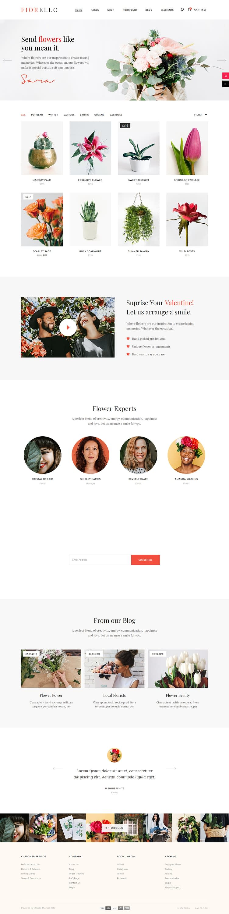 fiorello best premium florist floriculture wordpress theme - 10+ Best Premium Florist and Floriculture WordPress Themes