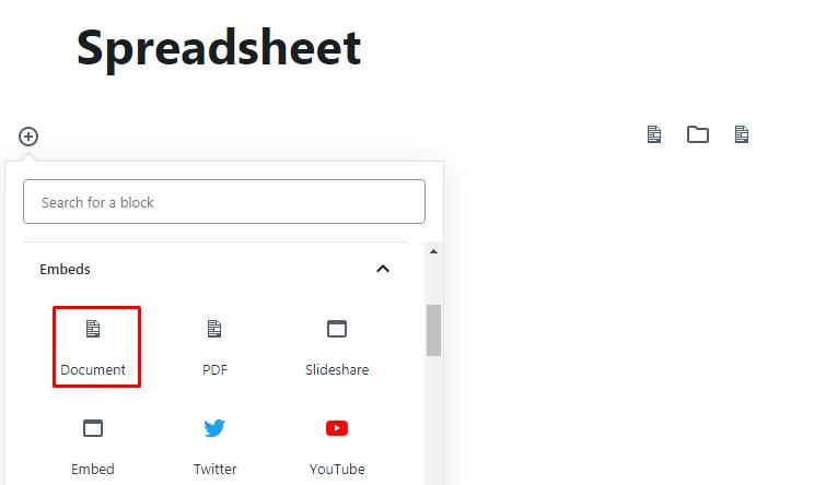 Add Document Block