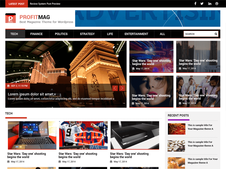ProfitMag - 25+ Best Free Responsive Magazine WordPress Themes 2019
