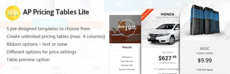 AP Pricing Table Lite - Best Free WordPress Pricing Table Plugins