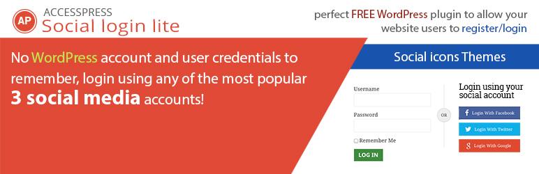accesspress social login lite - 5+ Best Free WordPress Social Login Plugins (Handpicked Collection)