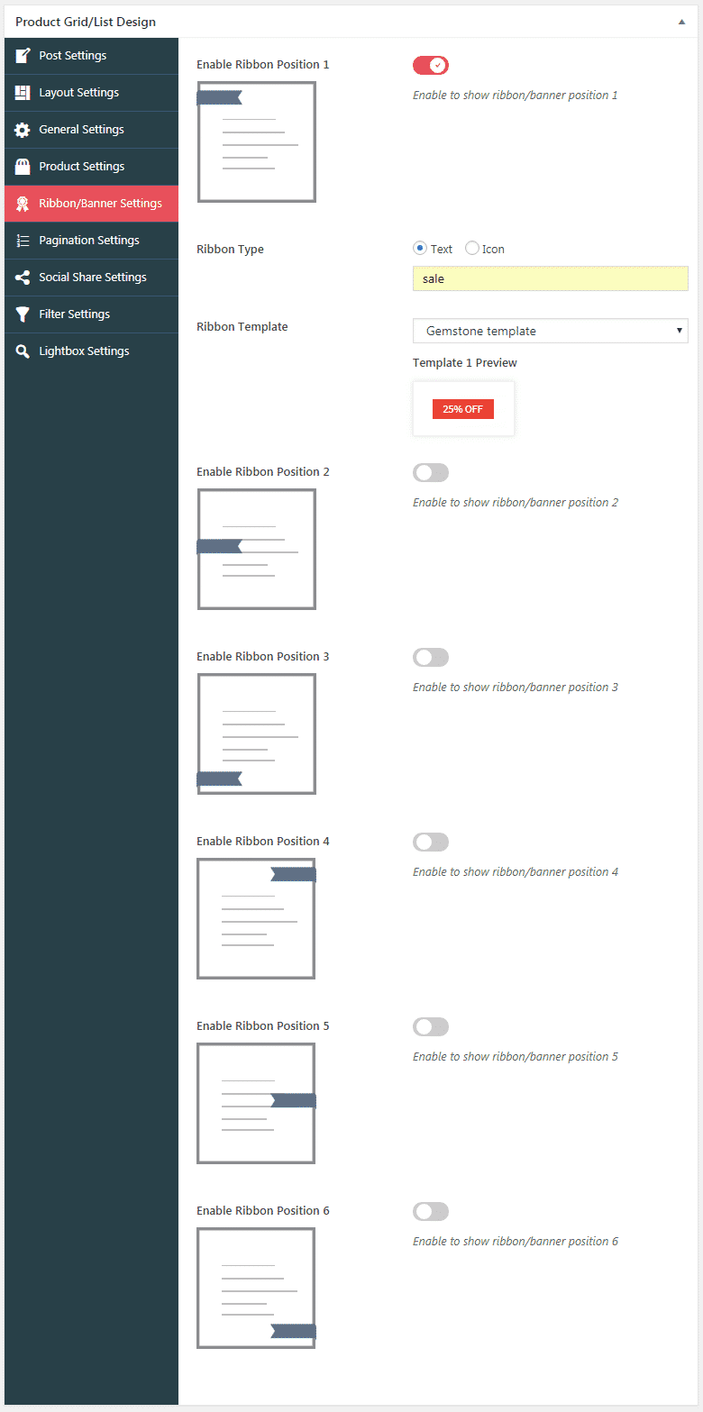 WOO Product Grid/List Design: Ribbon Settings
