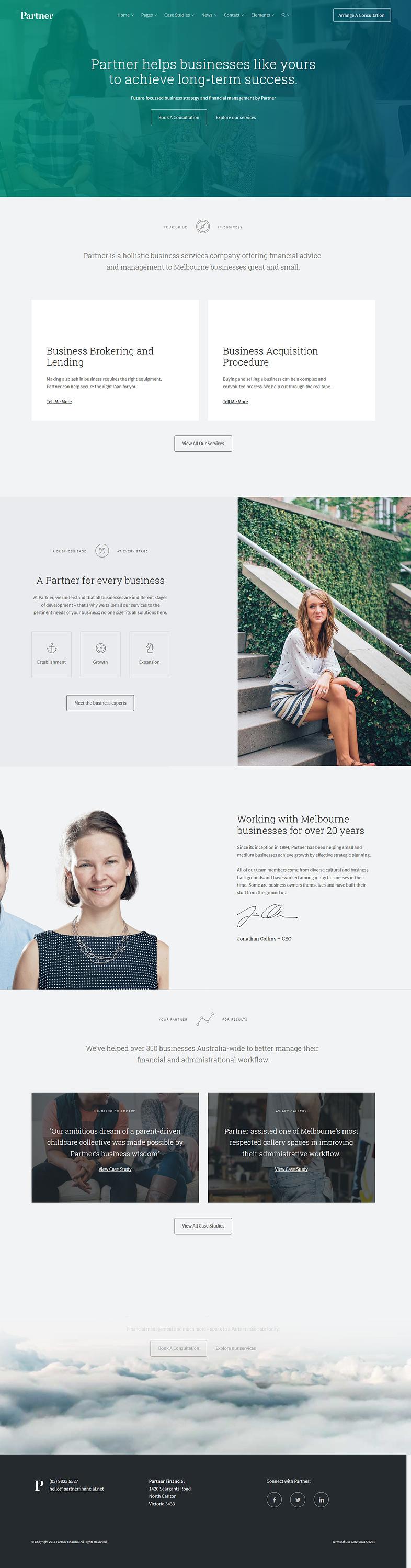 partner best premium accounting wordpress theme - 10+ Best Premium Accounting WordPress Themes