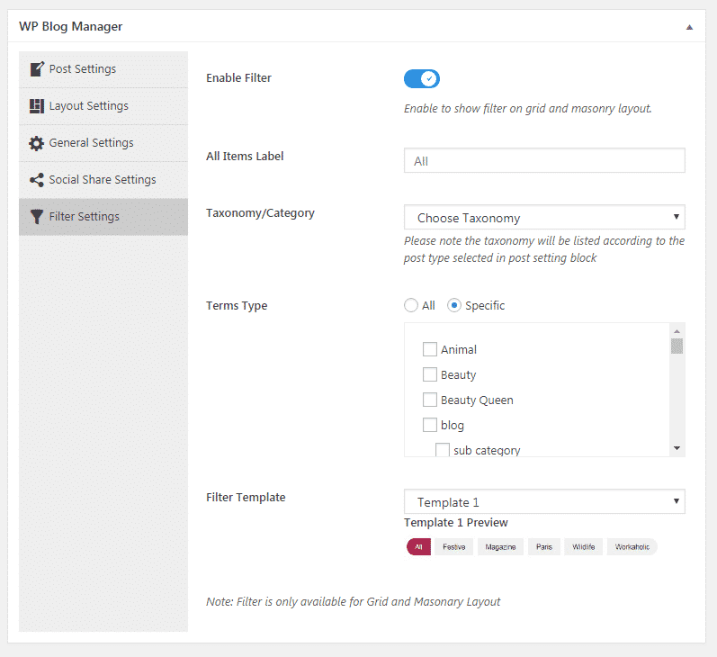 WP Blog Manager - Filter Settings