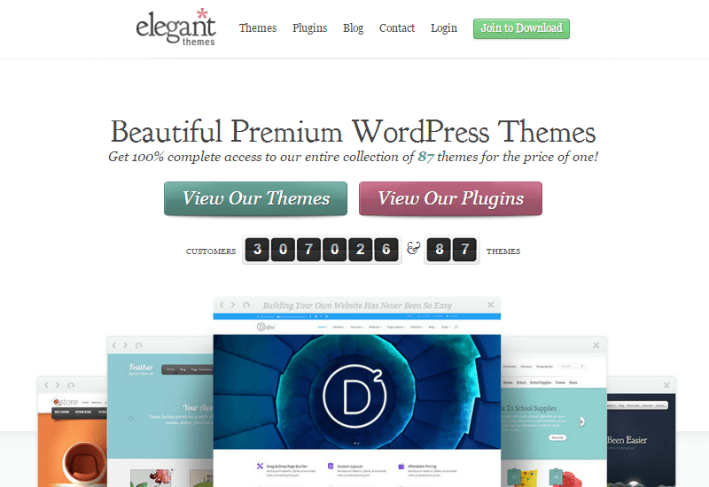 ElegantThemes - 25+ Best Marketplaces for Premium WordPress themes and Plugins