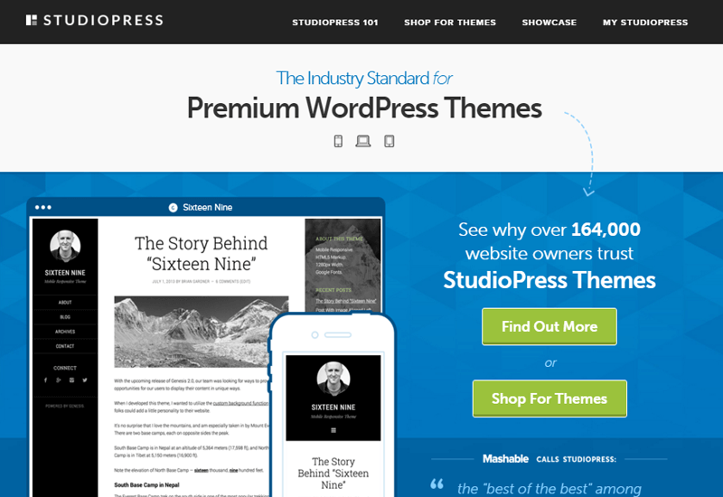 StudioPress - 25+ Best Marketplaces for Premium WordPress themes and Plugins