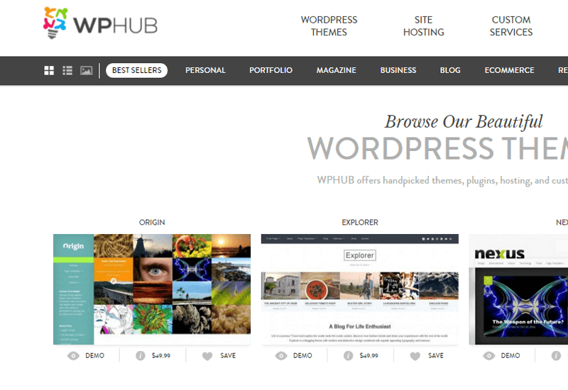 WPHUB - 25+ Best Marketplaces for Premium WordPress themes and Plugins