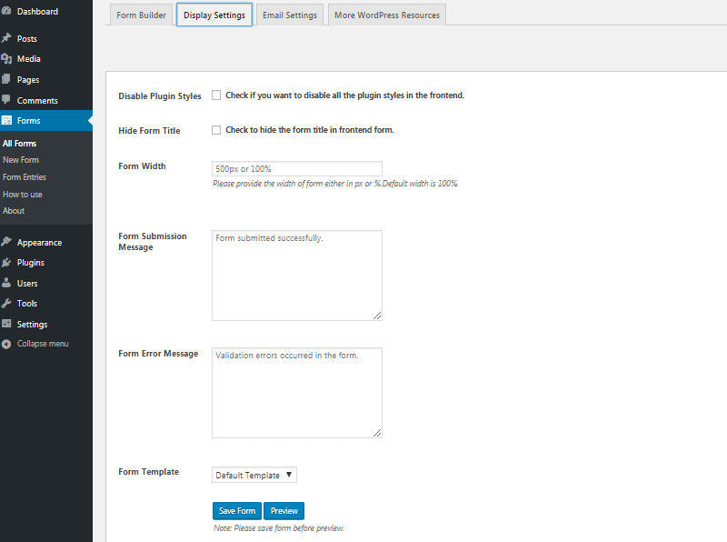 Display Settings in Contact Form