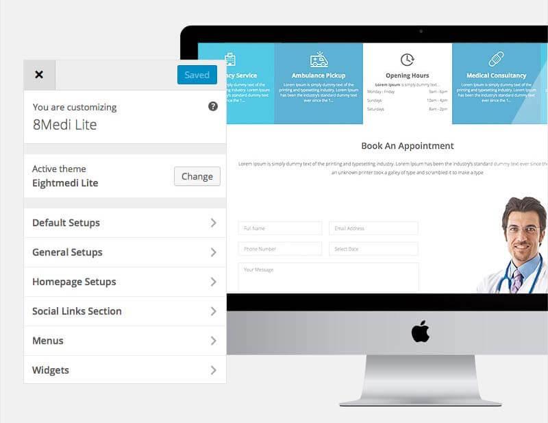 WordPress Customizer EightMedi Lite WP medical theme - Feature-rich Free Responsive WordPress Health & Medical Theme - EightMedi Lite