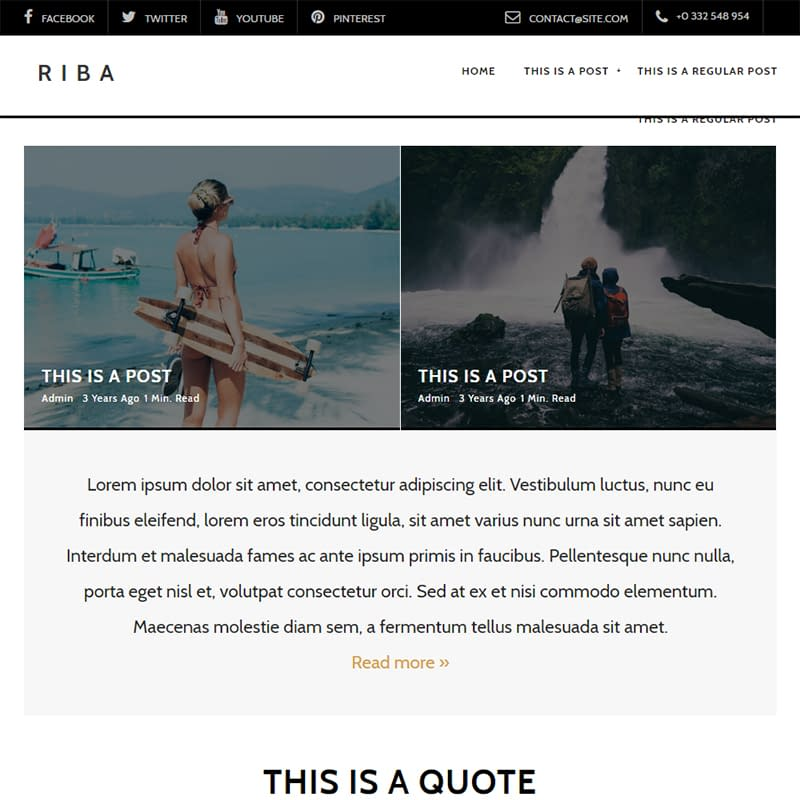 Riba - WordPress feminine blog themes