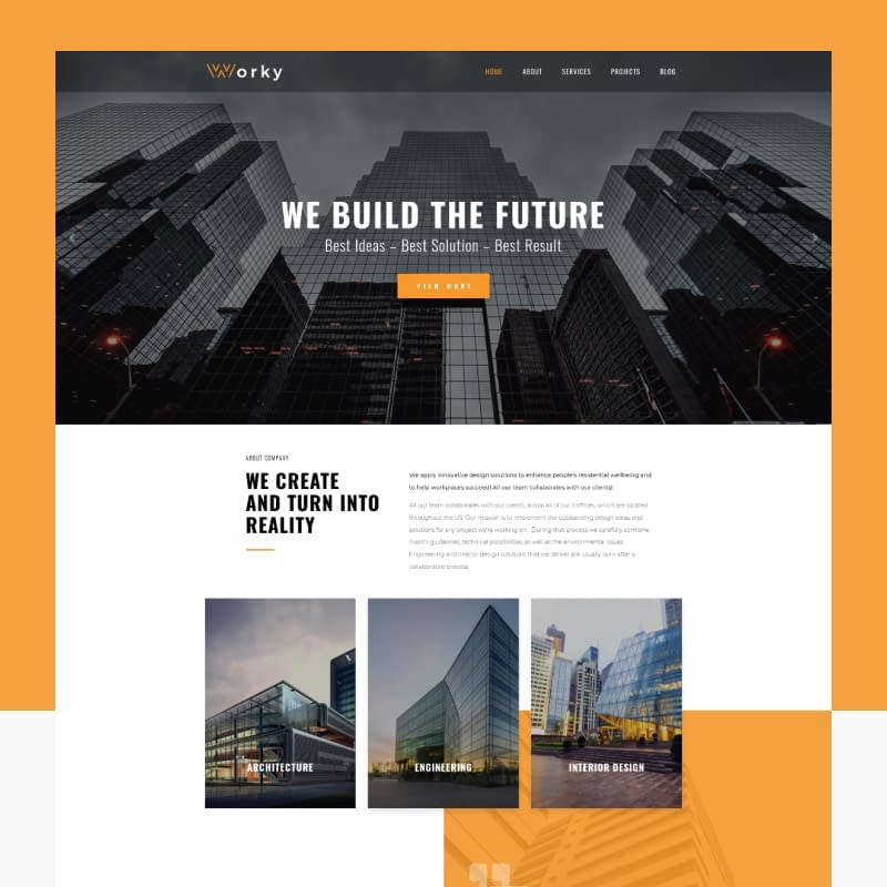 Worky - Architectural Bureau Elementor WordPress Theme