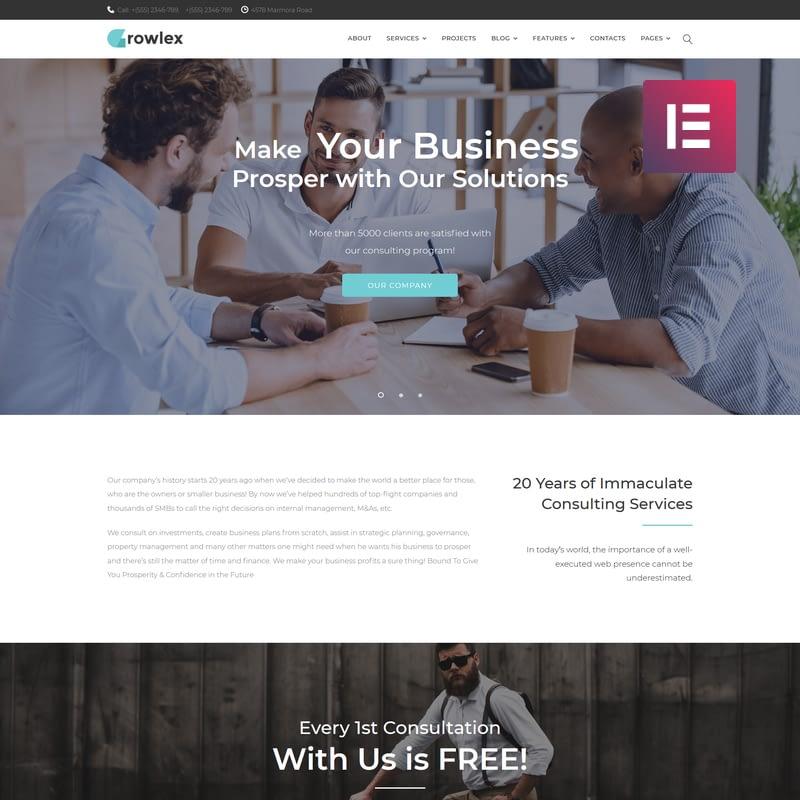 Glowlex - Consulting Services Elementor WordPress Theme