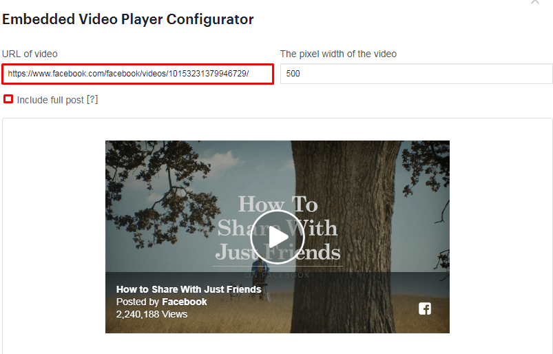 Embed a Facebook Video in WordPress.