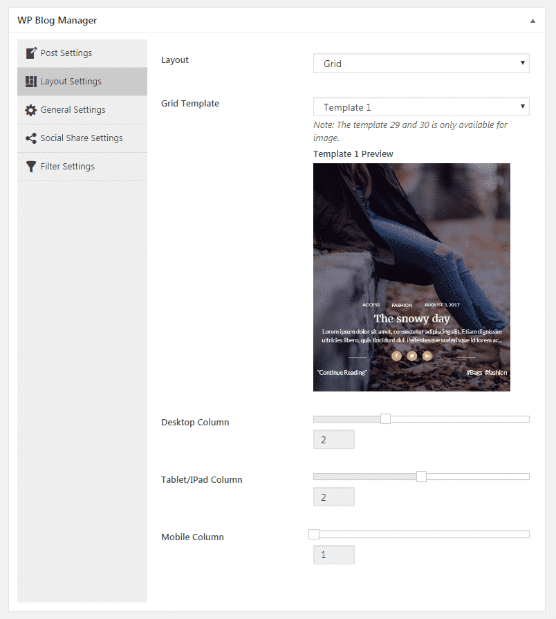 WP Blog Manager - Layout Settings