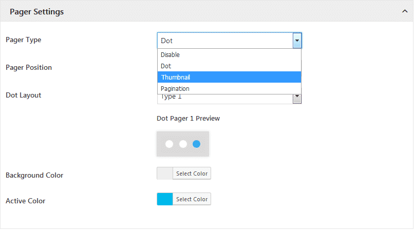 WP1 Slider: Pager Settings