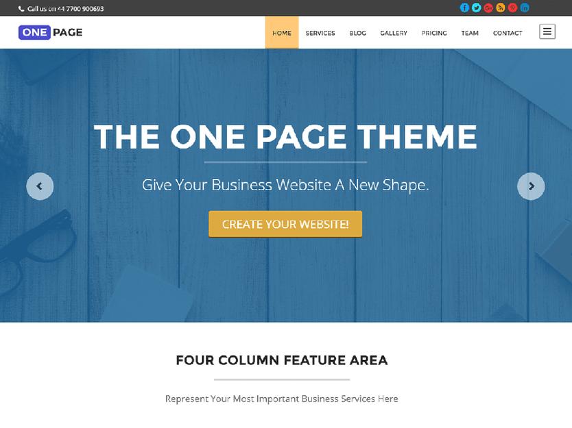 One Page - Best Free WordPress Themes January 2017