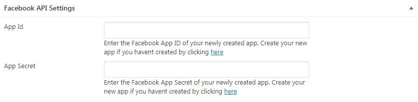 Facebook API Settings