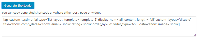 generate shortcode - How to Add Testimonials on WordPress Website? (Step by Step Guide)