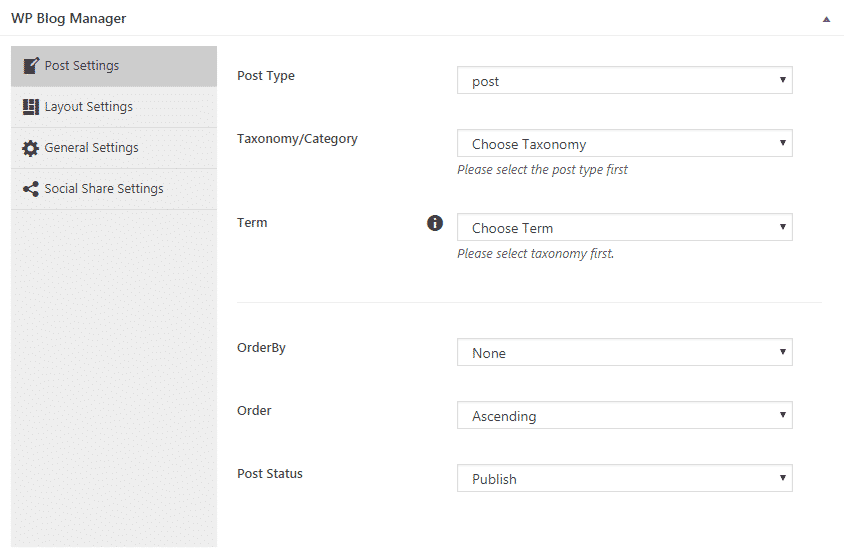 WP Blog Manager: Post Settings