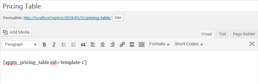 Add Pricing Tables