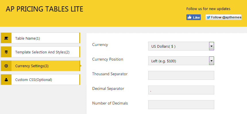 AP Pricing Tables Lite: Currency Settings
