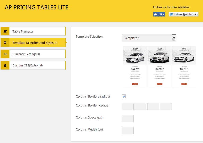 AP Pricing Tables Lite: Template Selection and Styles