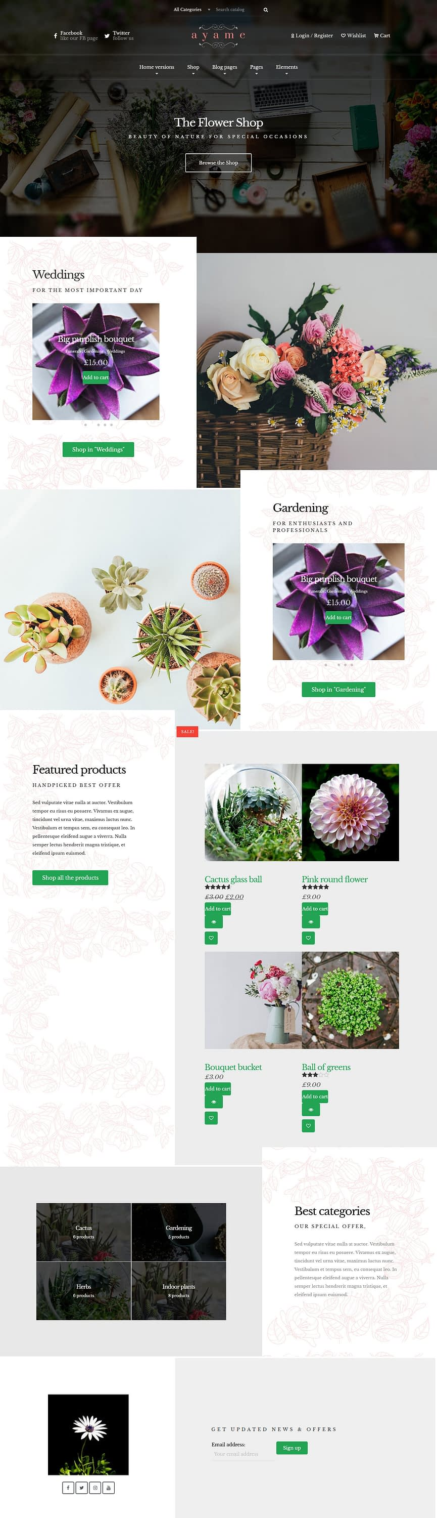 ayame best premium florist floriculture wordpress theme 1 - 10+ Best Premium Florist and Floriculture WordPress Themes