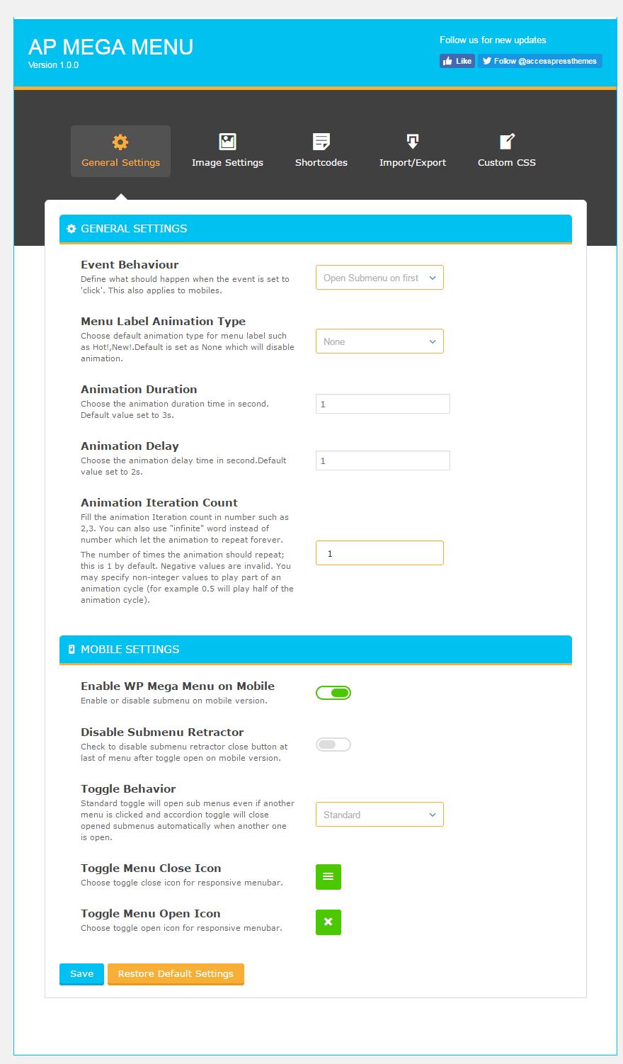 general settings 1 - How to add Mega Menu on WordPress Website Using AP Mega Menu plugin? (Step by Step Guide)